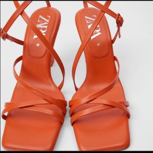 Zara Quilted strappy heeled sandals
